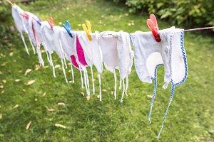 Baby bibs on laundry