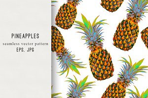 Pineapples tropical vector pattern