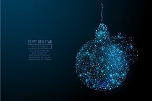 new year ball low poly wireframe