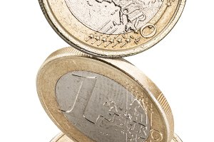 Old one euro coins isolated