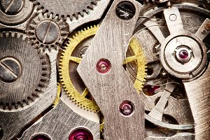 Mechanical clockwork. Close up shot.