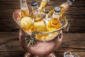Cold bottles of beer