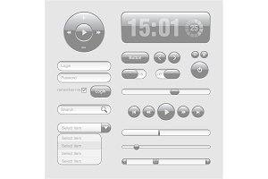 Light Web UI Elements Design Gray