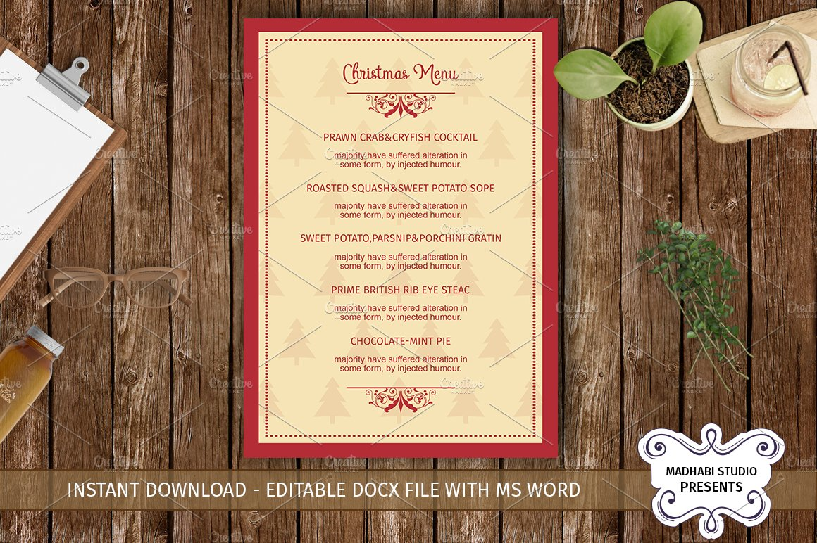 Christmas menu template flyer templates creative market pronofoot35fo Image collections