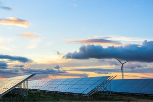 Renewable energies at sunset
