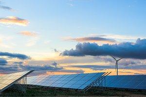 Renewable energies at sunset