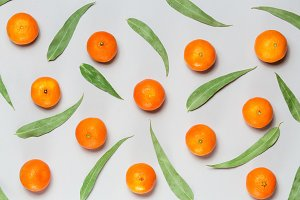 Christmas composition. Mixed fresh citrus fruits and eucaliptus leaves background Flat lay, top view