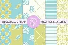 Floral Wedding Digital Papers