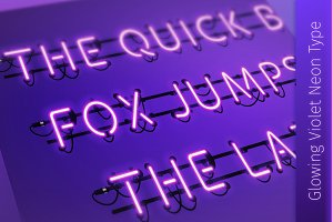 Glowing Violet Neon Type