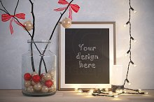 XMAS gold frame mockup holiday decor
