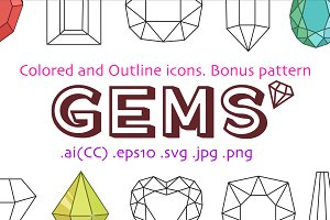 Colored and outline gems + pattern