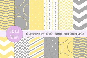 Yellow & Gray Digital Paper Pack