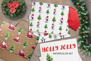 Watercolor Holly Jolly Collection.