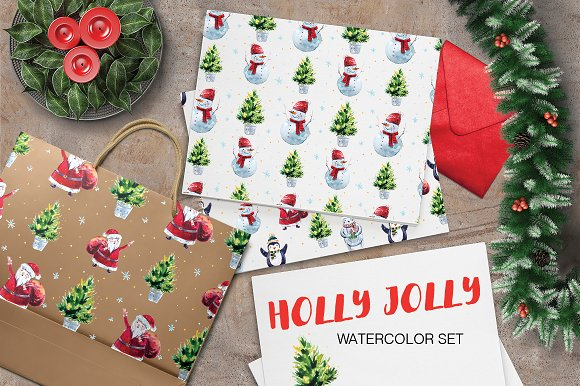 Watercolor Holly Jolly Collection