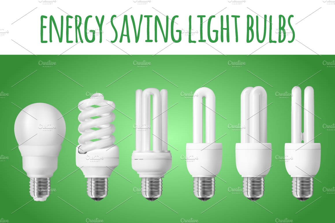 6 energy saving light bulbs objects creative market Light bulbs energy efficient