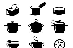 Bowl, can and pot black icons set