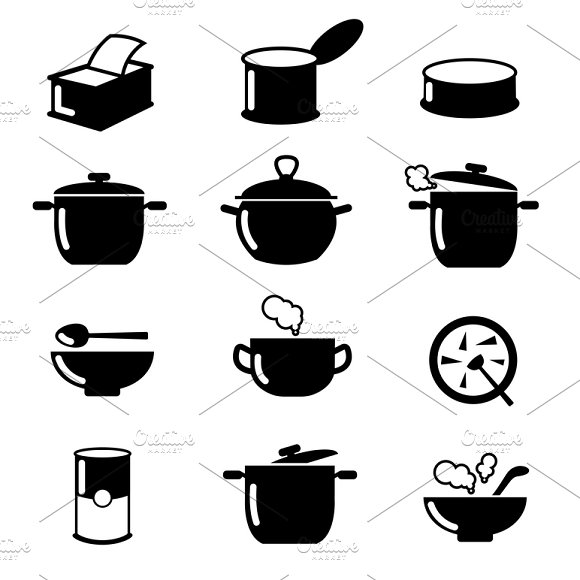 Bowl Can And Pot Black Icons Set