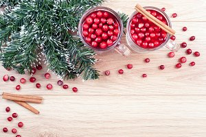 Tea with cranberries and cinnamon