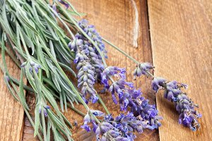 Lavender on old wooden background