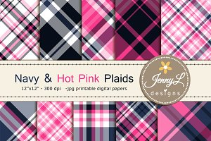 Navy Hot Pink Plaid Digital Papers