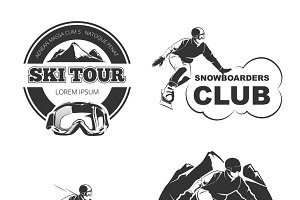 Retro ski vector emblems set