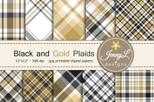 Black and Gold Plaid Digital Papers