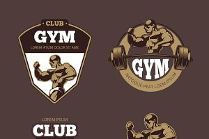 Fitness and bodybuilder emblems