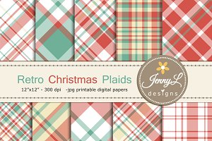 Retro Christmas Plaid Digital Papers