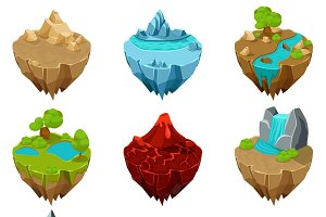Isometric game islands vector