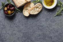 Food background with Italian ciabatta