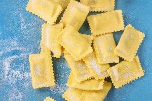 Uncooked ravioli pasta