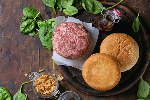 Ingredients for making burger