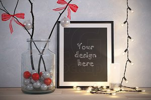 NEW YEAR frame mockup XMAS decor