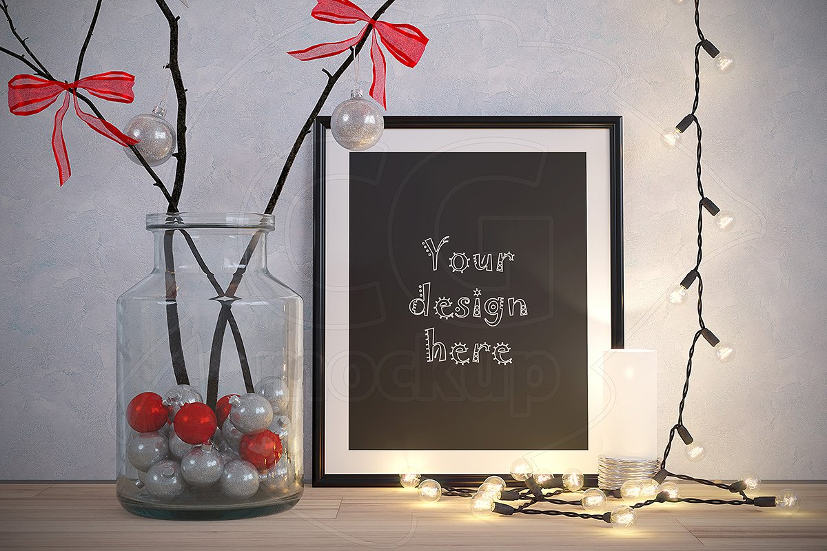 635c359ab5d6 NEW YEAR frame mockup XMAS decor ~ Print Mockups ~ Creative Market