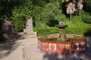 Garden With Fountain In Barcelona