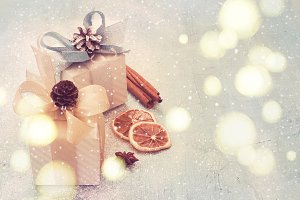 Festive background with christmas gifts, tinted