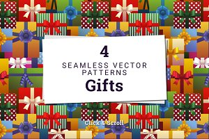 4 Seamless Vector Patterns - Gifts