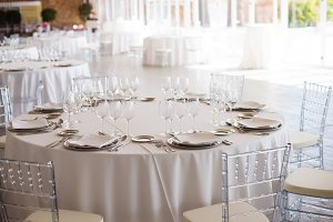 Tables arranged for a wedding day