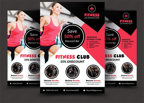 fitness flyer flyer templates creative market