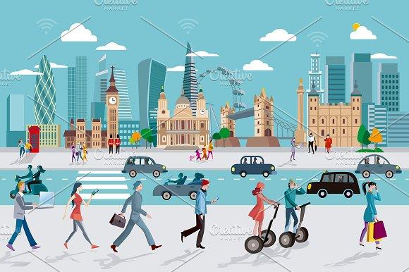 London Skyline And People Walking
