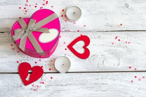 St. Valentine's day background with hearts and candles