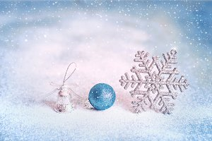 Magic blue Christmas and New Year background with with snowflake