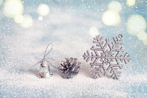 Christmas New Year background with Christmas toys, toning