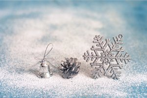 Christmas New Year background with Christmas decorations and sno