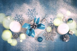 Christmas New Year card with gifts and toys, tinted