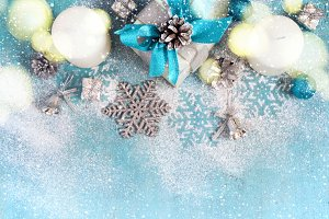 Christmas New Year background with gifts and toys, tinted
