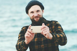 Bearded Man taking selfie