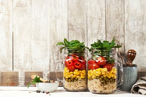 Healthy salad in jar, food concept