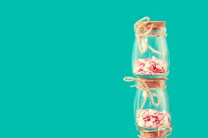 Love concept with hearts in jars