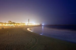 Icaria Beach at Night in Barcelona